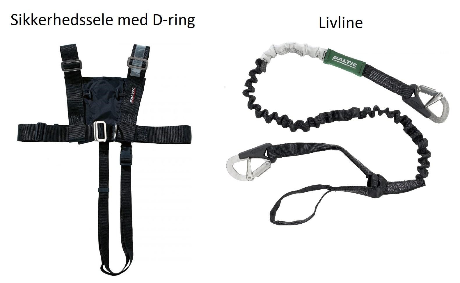 sikkerhedssele og livline til redningsveste